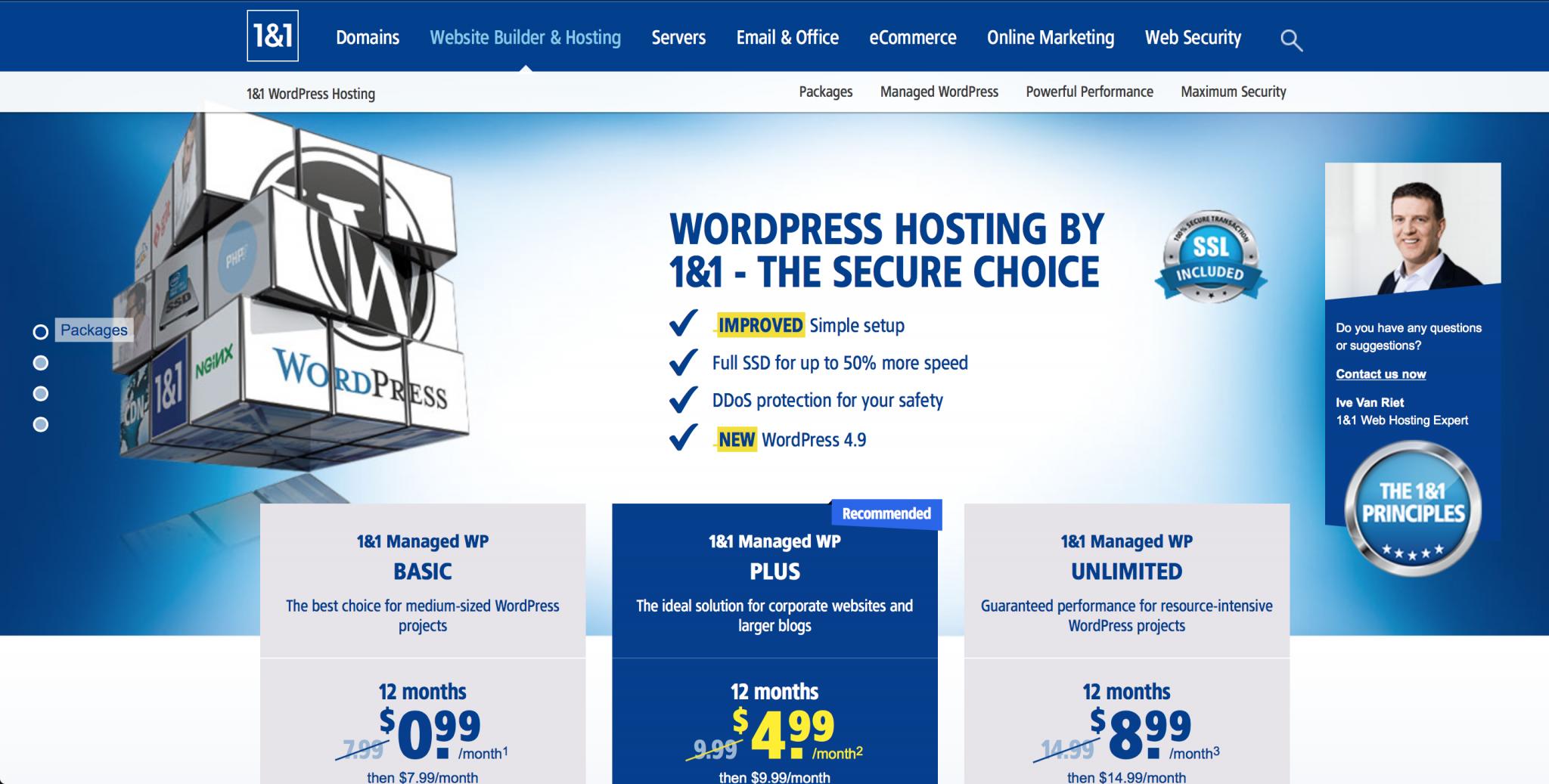 1&1 forfait site wordpress